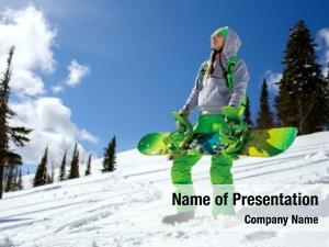 Girl beautiful young snowboard winter