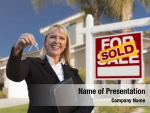 Estate female real agent handing