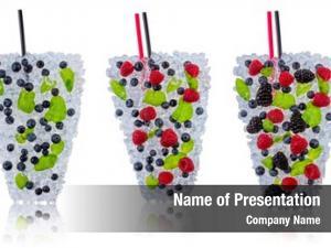 Drinks ice fresh made blueberries,