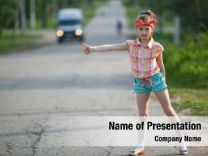 Girl little funny hitchhiker standing