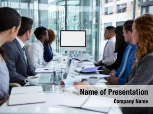 Conference table business people looking