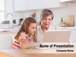 Looking child granny laptop kitchen