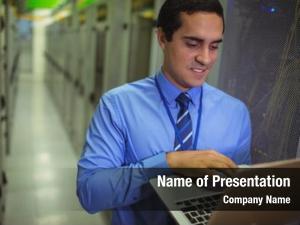 Data center laptop technician using