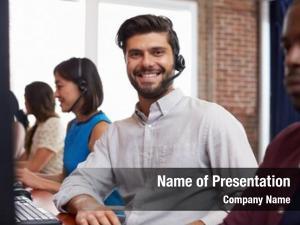 Customer service representative portrait of staff in busy