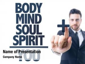 Pointing business man text: body/mind/soul/spirit