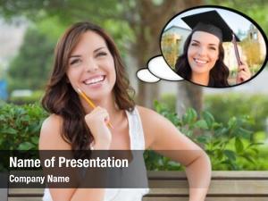 Woman thoughtful young herself graduate