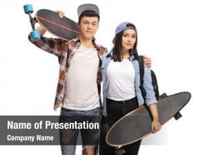 Teenage teenage boy girl longboards