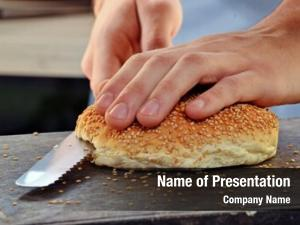 Bread slicing burger preparing burger