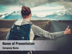 Woman travel hitchhiker walking road