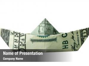 Folded origami boat $100 banknote