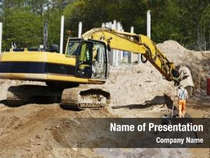 Site bulldozer, digger worker action,