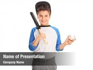 Holding cheerful kid baseball bat