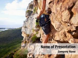 Rock cropped man climbing equipment