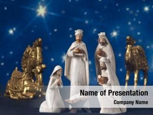 Scene star lit nativity composed three