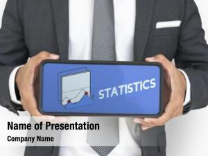 Announcement businessman holding statistics