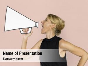 Papercraft woman holding arts megaphone