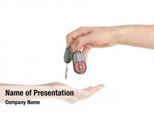 Giving male hand car key