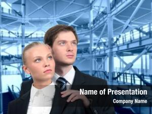 Couple young business industrial interior