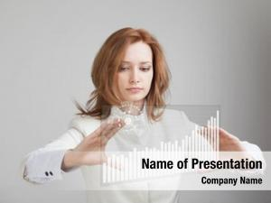 Working young businesswoman interactive graph