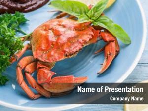 Cooked seafood dish crab lemon