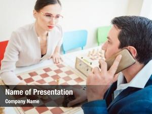 Woman man setting checkmate, she