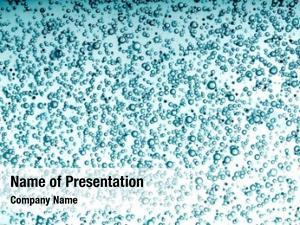 Clear oxygen bubbles blue water,