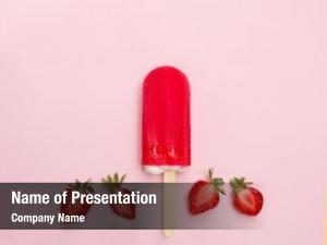 Fresh strawberry popsicle strawberry pink