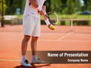 Player male tennis serving clay