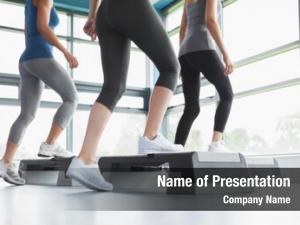 Doing three women aerobics gym