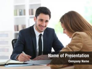 Financial woman meeting adviser office