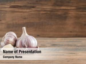 Old bulbs garlic wooden surface