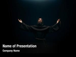 Praying medieval monk holy god,