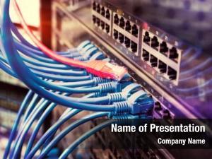 Blue server rack red internet