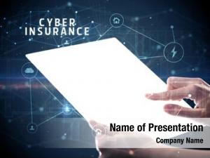 Tablet holding futuristic cyber insurance