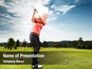 Golf young female player course
