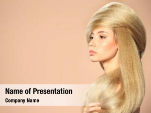 Woman beautiful blonde fashionable hairstyle