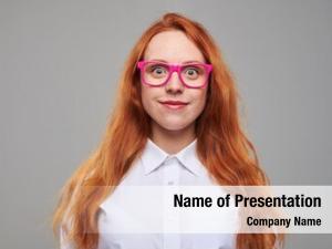 Eyeglasses studio portrait of surprised