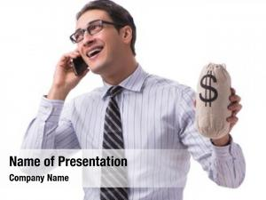Money young businessman sack white