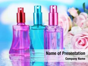 Beautiful women perfume bottles flowers