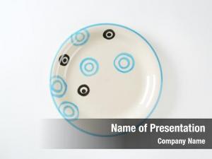 Plate white soup black blue