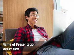 Asian photo joyful student wearing