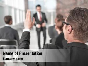 Listener, business seminar asking speaker