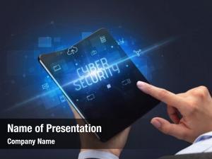 Foldable businessman holding smartphone cyber