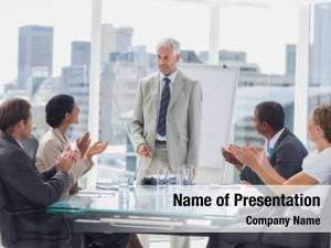 Boss colleagues applauding during meeting
