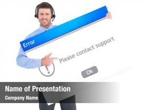 Card businessman showing wearing headset