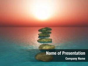Stones render stepping sunset ocean