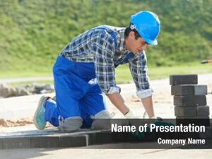 Making mason worker sidewalk pavement