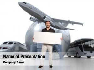 Blank man holding signboard world