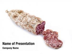 White sliced salami