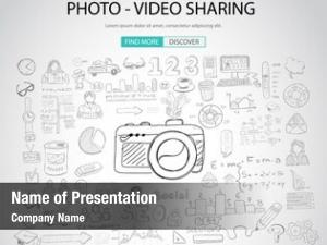 Sharing photo video concept doodle
